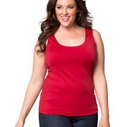 Kiyonna Women's Plus Size Most Wanted Stretch Camisole (1X, Red Haute)