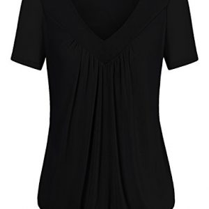 Messic-Womens-Short-Sleeve-Fashion-V-Neck-Pleated-Front-Tunic-Top-0