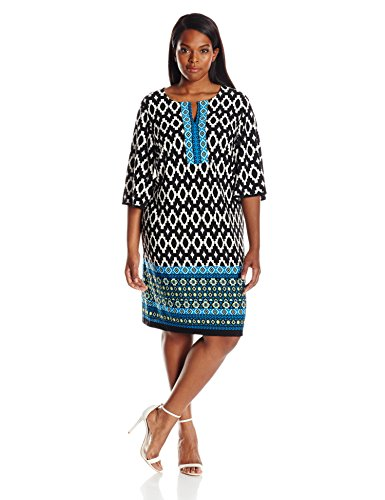 Sandra Darren Women's Plus-Size 3/4 Bell Sleeve Printed Ity Dress – 14 Plus, Black-Ivory-Teal-Lime
