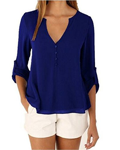 Women Long Sleeve V Neck See Through Back Sheer Button Up Blouse Shirt – S – Us 6, Blue