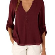 Women Long Sleeve V Neck See Through Back Sheer Button Up Blouse Shirt – S – Us 6, Wine Red
